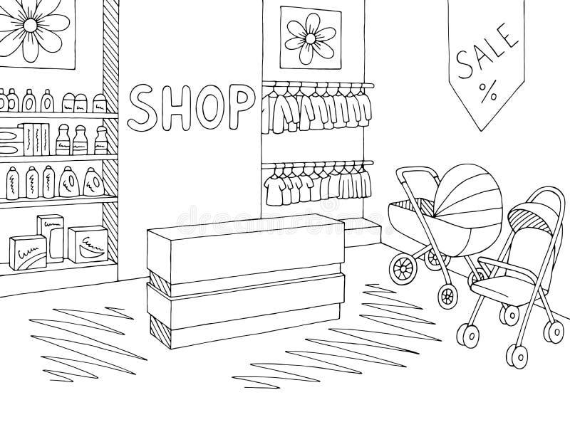 Vettore interno bianco nero grafico dell'illustrazione di schizzo del deposito del negozio del bambino royalty illustrazione gratis