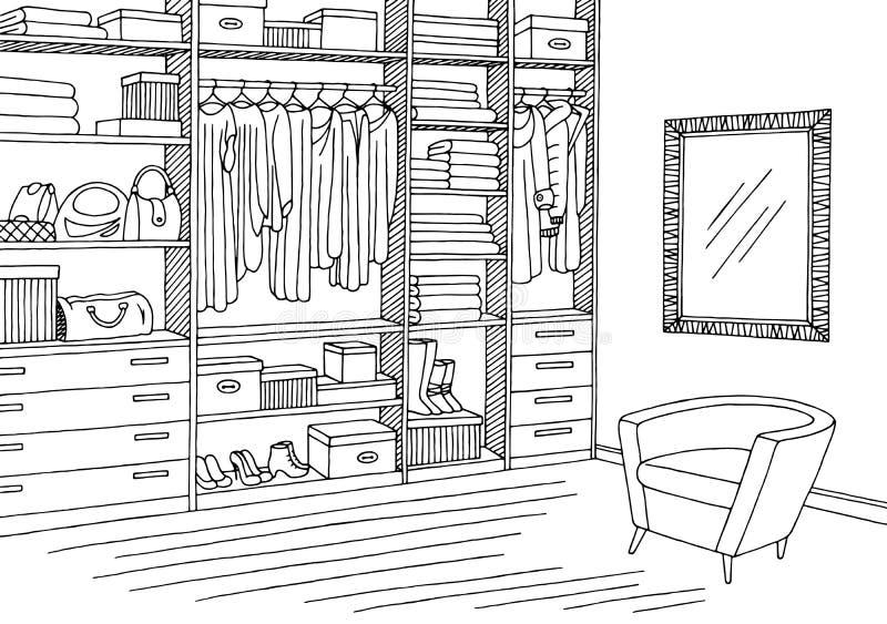 Vettore interno bianco nero grafico dell'illustrazione di schizzo della stanza del guardaroba illustrazione di stock