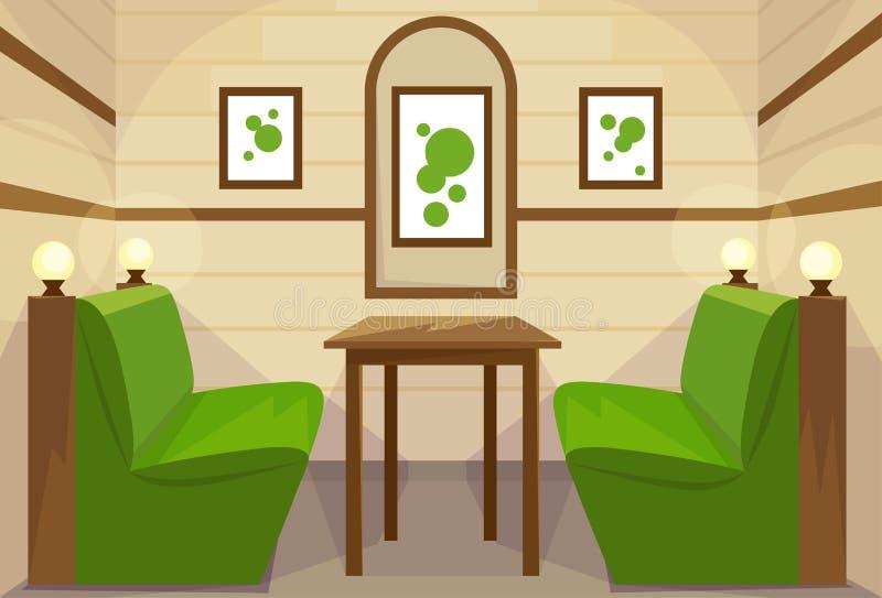 Vettore interno del caffè della stanza della Tabella del ristorante royalty illustrazione gratis