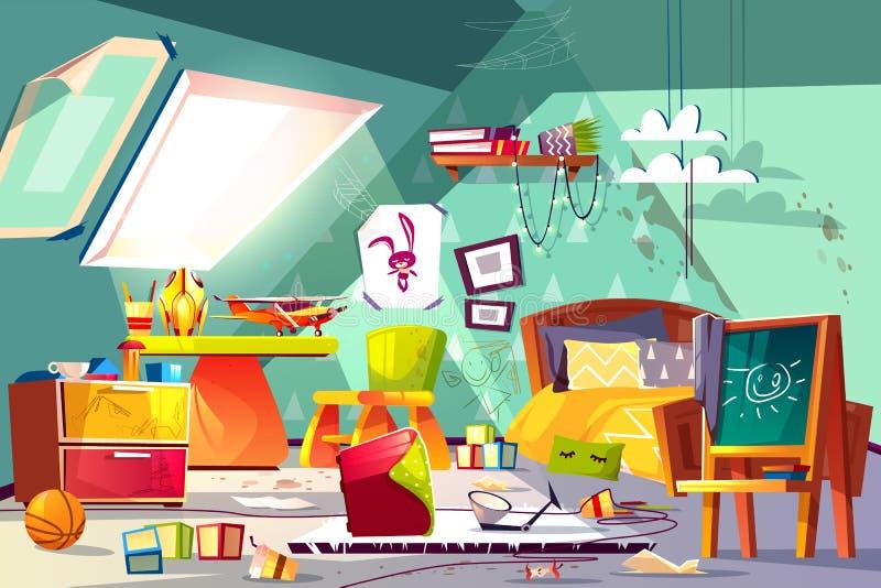 Vettore interno del fumetto del bambino della camera da letto sudicia della soffitta illustrazione di stock