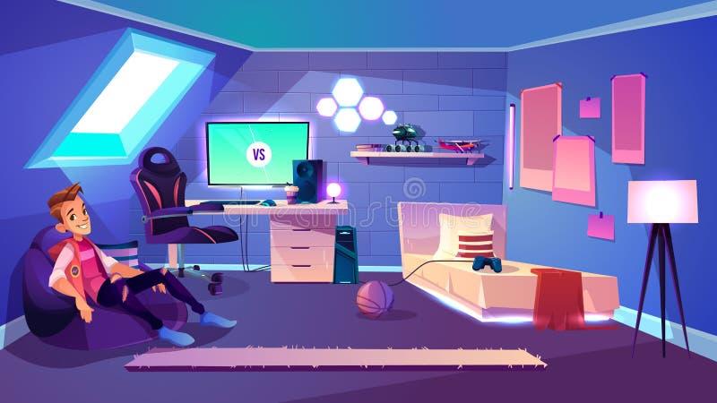 Vettore interno del fumetto dell'adolescente della stanza moderna del ragazzo illustrazione di stock