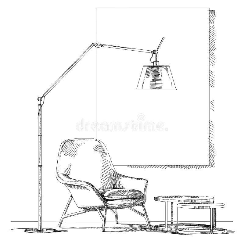 Vettore interno moderno del disegno della mano illustrazione vettoriale