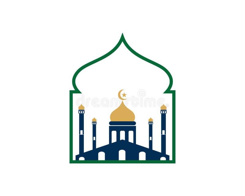 Vettore islamico del modello di logo della moschea illustrazione di stock