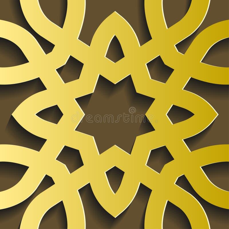 Vettore islamico dell'ornamento Modello rotondo circolare di 3d il Ramadan Motivo persiano royalty illustrazione gratis