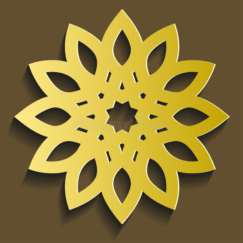 Vettore islamico dell'ornamento Modello rotondo circolare di 3d il Ramadan Motivo persiano illustrazione di stock