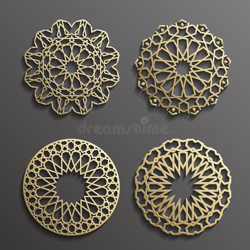 Vettore islamico dell'ornamento, motiff persiano elementi rotondi del modello di 3d il Ramadan Insieme geometrico del modello di  royalty illustrazione gratis