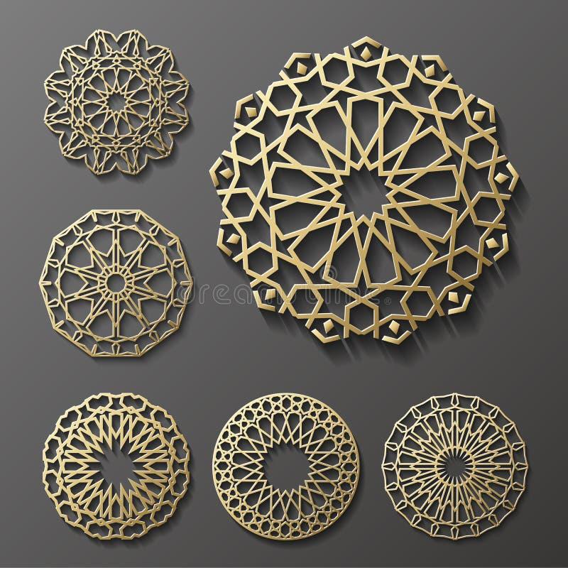 Vettore islamico dell'ornamento, motiff persiano elementi rotondi del modello di 3d il Ramadan Insieme geometrico del modello di  illustrazione vettoriale