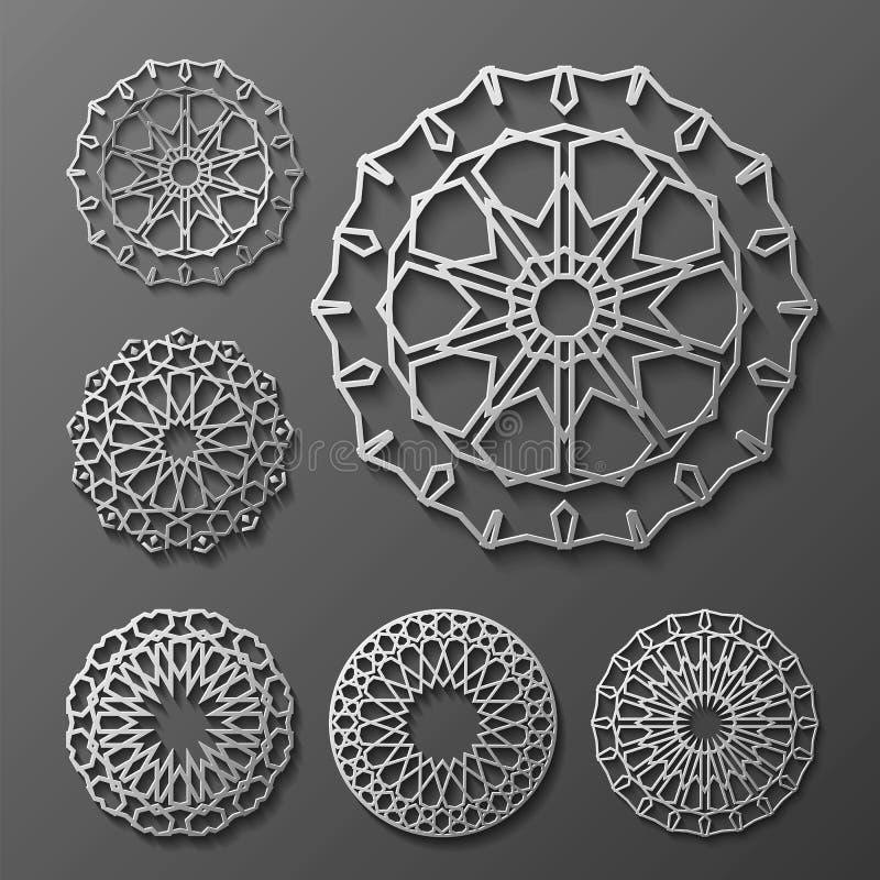 Vettore islamico dell'ornamento, motiff persiano elementi rotondi del modello di 3d il Ramadan Insieme geometrico del modello di  illustrazione di stock