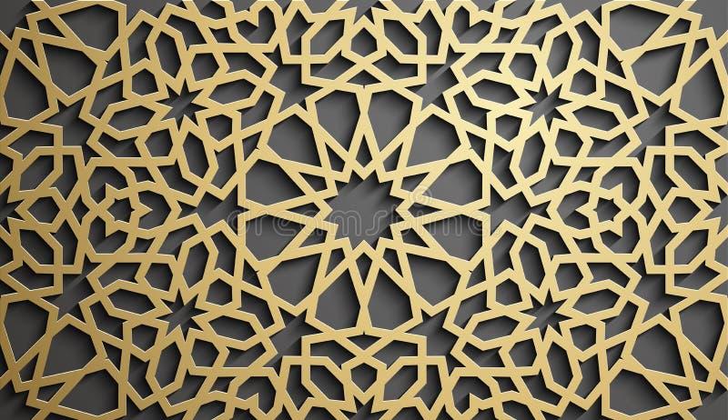 Vettore islamico dell'ornamento, motiff persiano elementi rotondi islamici del modello di 3d il Ramadan Ornamentale circolare geo royalty illustrazione gratis