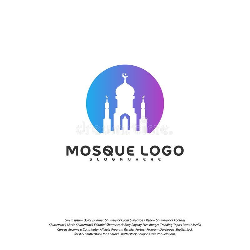 Vettore islamico di progettazione di logo Modello di logo della moschea I musulmani imparano i modelli di logo illustrazione di stock