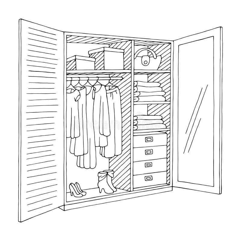 Vettore isolato bianco dell'illustrazione di schizzo del nero del grafico delle porte aperte del guardaroba illustrazione vettoriale