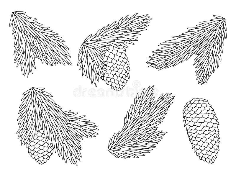 Vettore isolato bianco dell'illustrazione di schizzo del nero stabilito grafico del cono del ramo dell'abete royalty illustrazione gratis
