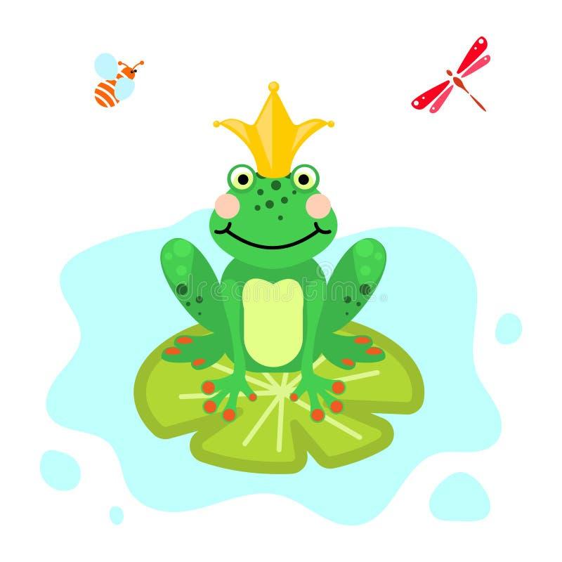 Vettore isolato clipart di verde del fumetto di principe della rana illustrazione di stock