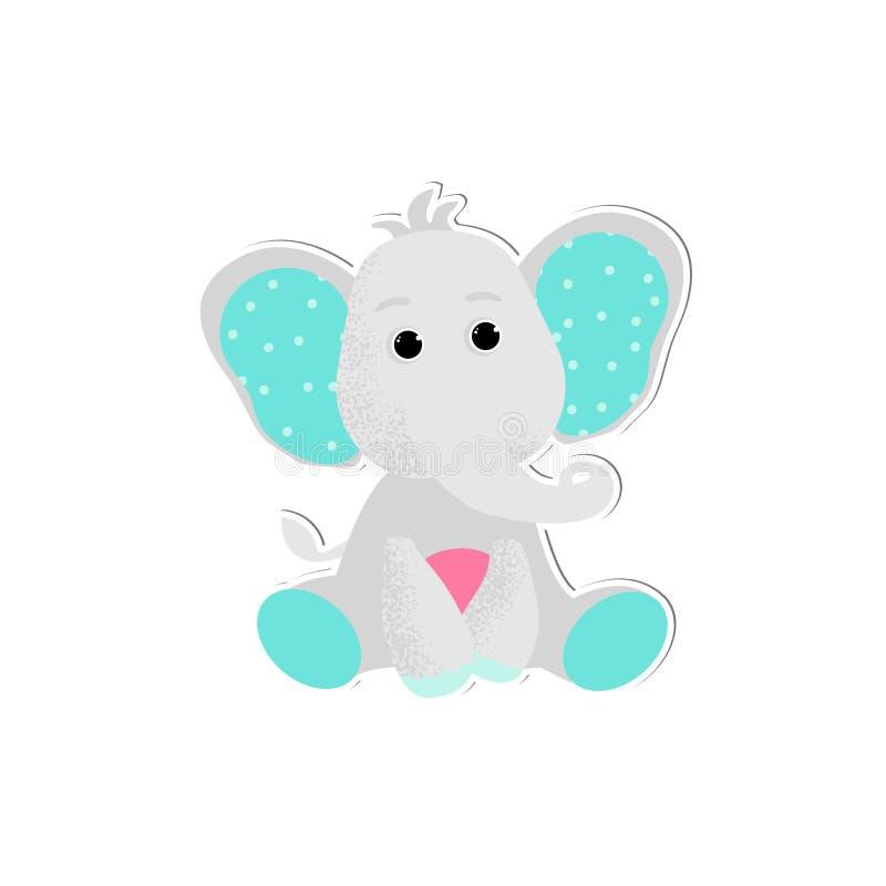 Vettore isolato dell'elefante del bambino nello stile del fumetto illustrazione vettoriale