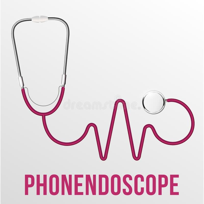 Vettore isolato Phonendoscope medico Diagnosi medica Cuore rosso illustrazione di stock