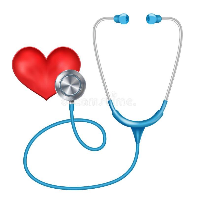 Vettore isolato Phonendoscope medico Diagnosi medica Cuore rosso La salute è concetto Illustrazione royalty illustrazione gratis
