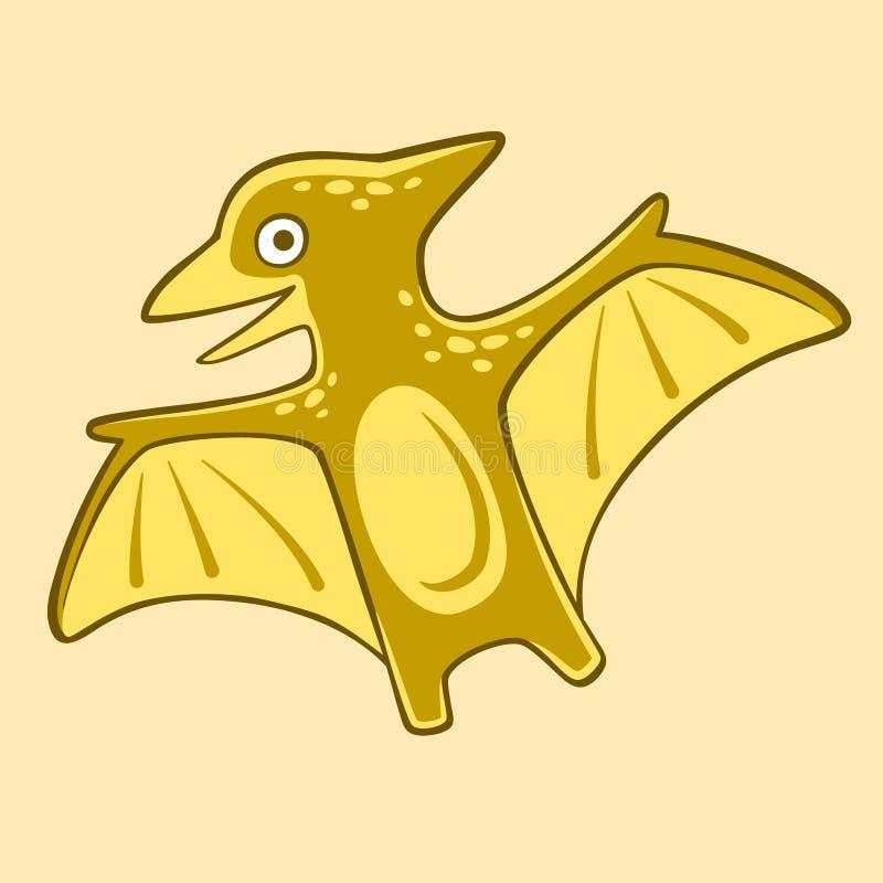 Vettore isolato pterodattilo divertente, illustrazione piana Manifesto di Dino del bambino del fumetto per la scuola materna royalty illustrazione gratis