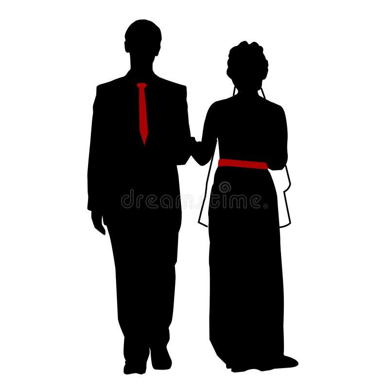 Vettore, isolato, siluetta, nozze, sposa e sposo illustrazione vettoriale