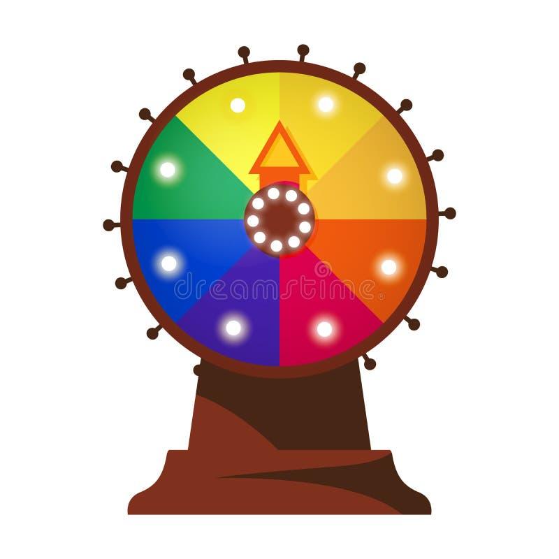 Vettore isolato sull'illustrazione bianca della ruota piana di fortuna con le lampade principali, segmenti luminosi di colori nel illustrazione vettoriale