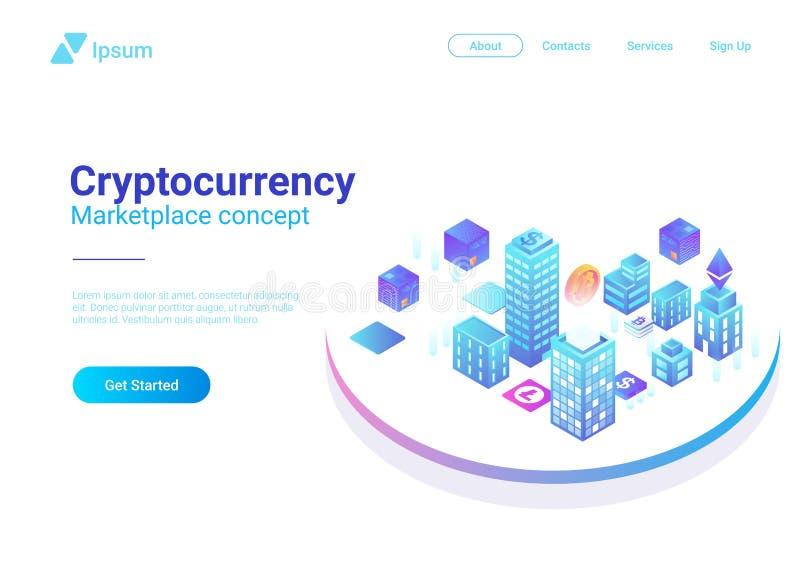 Vettore isometrico Blockchain Cryptocurrency mA della città royalty illustrazione gratis