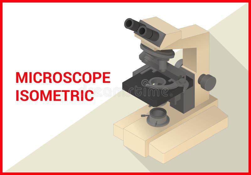 Vettore isometrico del microscopio 3d piano royalty illustrazione gratis