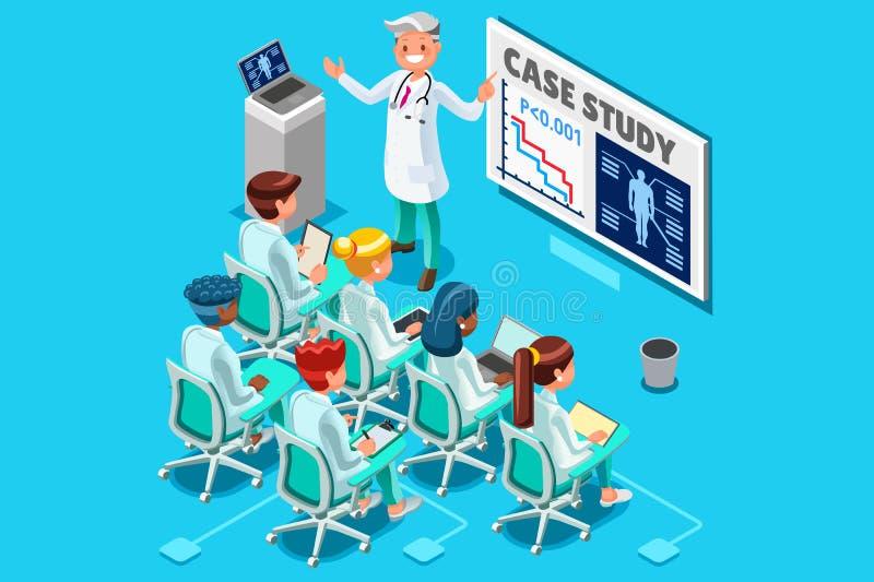 Vettore isometrico della gente di ricerca medica della clinica royalty illustrazione gratis