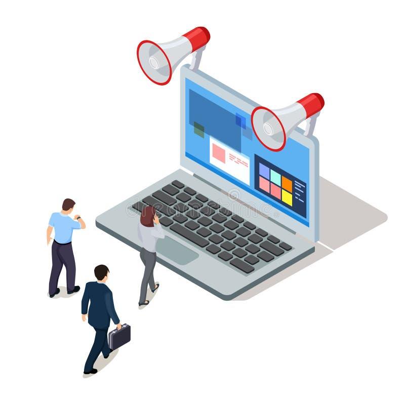 Vettore isometrico di affari online Gente di affari ed illustrazione indipendente royalty illustrazione gratis