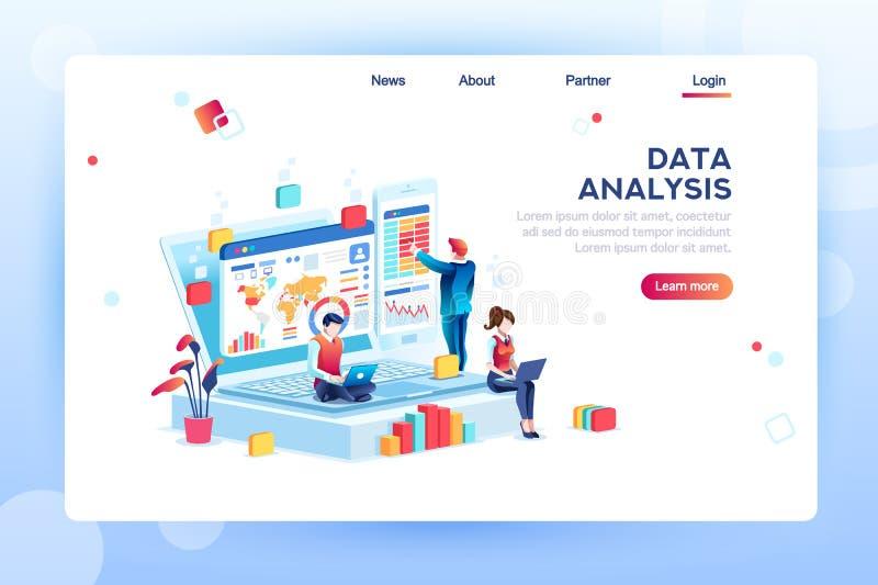 Vettore isometrico di concetto del motore di analisi dei dati illustrazione di stock