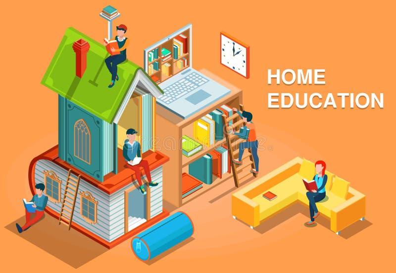 Vettore isometrico di concetto di istruzione a domicilio royalty illustrazione gratis