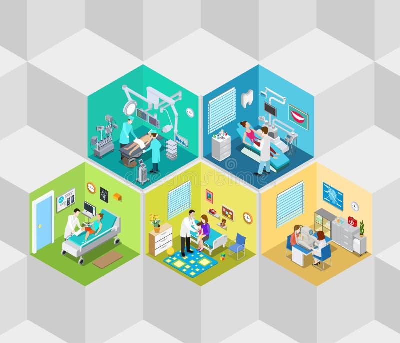 Vettore isometrico piano 3d del reparto interno di operazione della clinica dell'ospedale illustrazione vettoriale