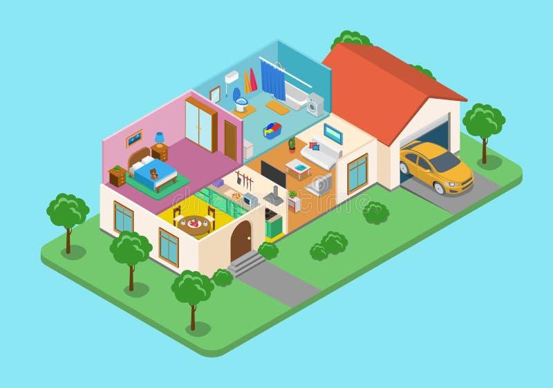 Vettore isometrico piano 3d della casa della stanza esteriore domestica dell'interno illustrazione vettoriale