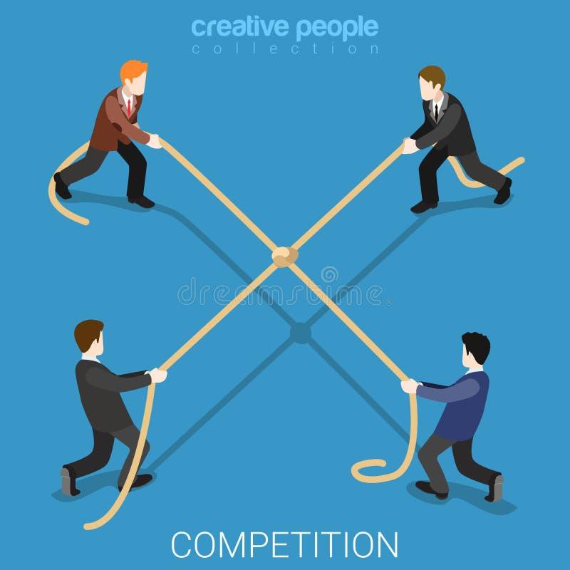 Vettore isometrico piano 3d della corda del legame della concorrenza di affari