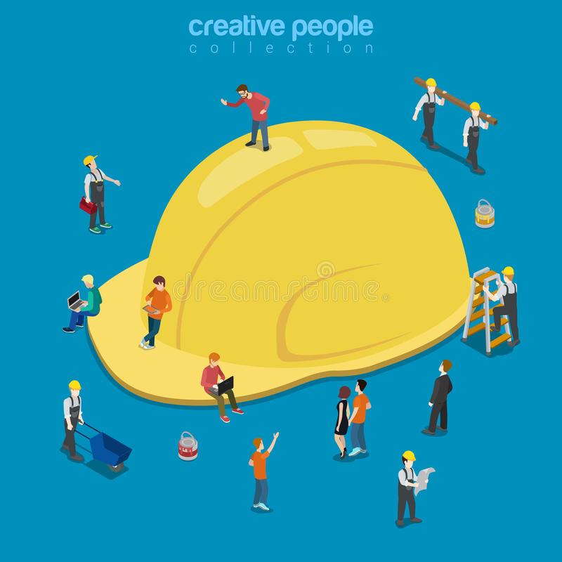 Vettore isometrico piano 3d della costruzione del casco del cappuccio giallo del cappello illustrazione vettoriale