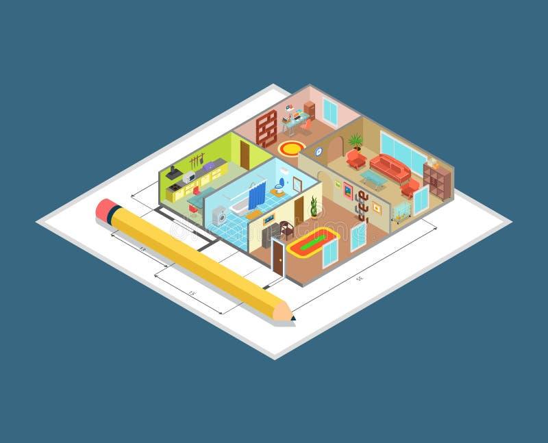 Vettore isometrico piano 3d delle stanze dell'interno interne di piano dell'appartamento illustrazione di stock