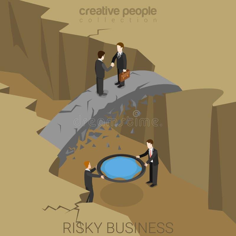 Vettore isometrico piano 3d di assicurazione rischiosa di rischio d'impresa illustrazione di stock