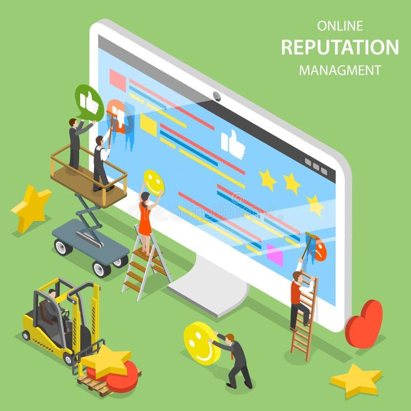 Vettore isometrico piano della gestione di reputazione illustrazione di stock