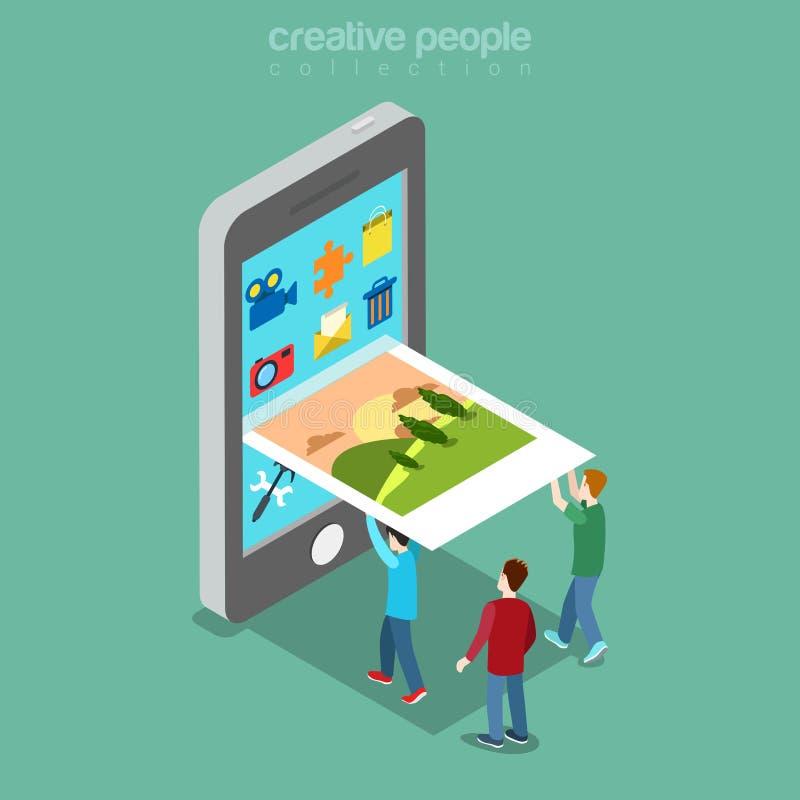 Vettore isometrico piano dello schermo del telefono dell'immagine della gente royalty illustrazione gratis