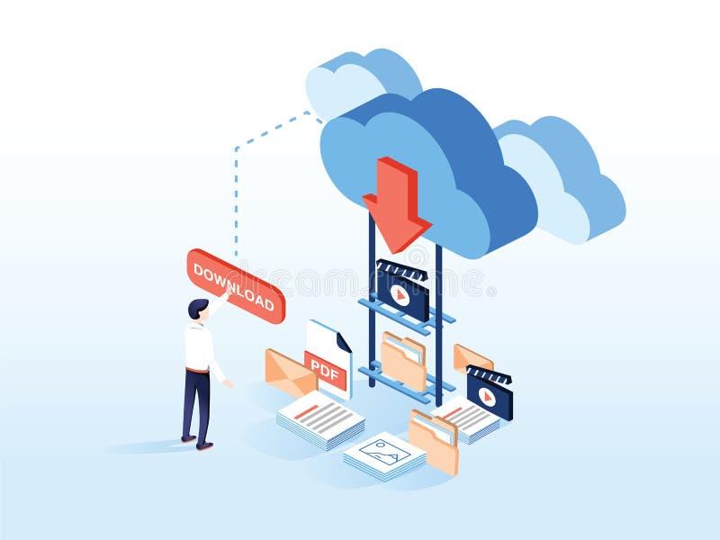 Vettore isometrico piano di download della nuvola La gente sta scaricando un certo contenuto come il video, musica illustrazione di stock