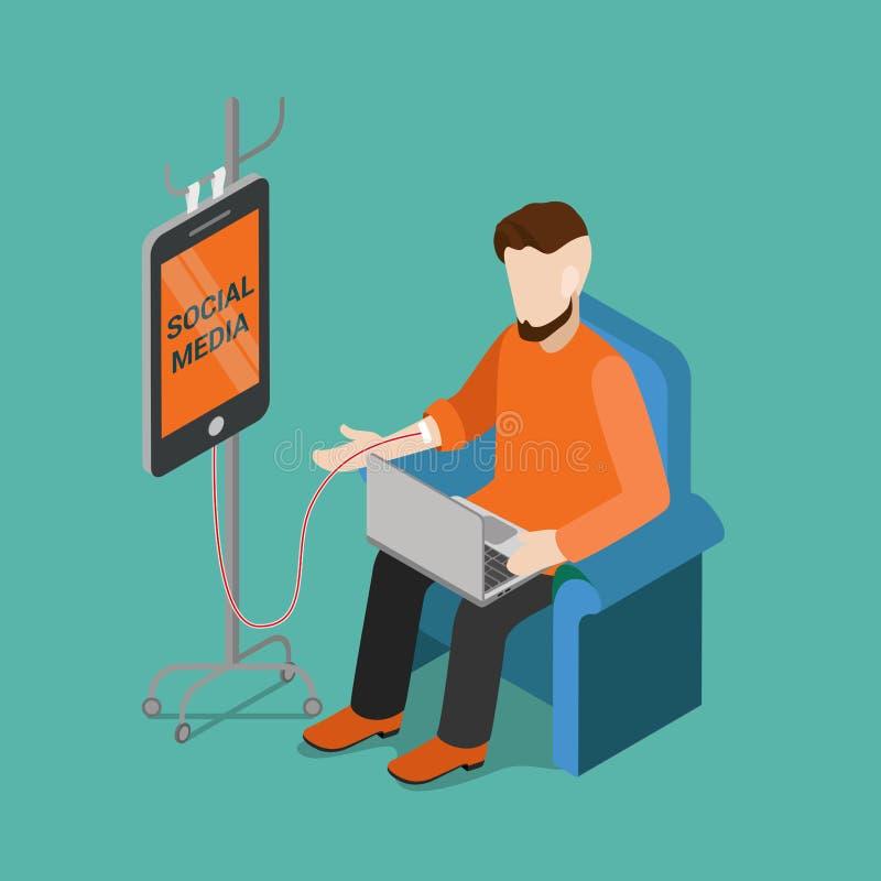 Vettore isometrico piano di media di dipendenza dell'aggeggio sociale di tecnologia royalty illustrazione gratis