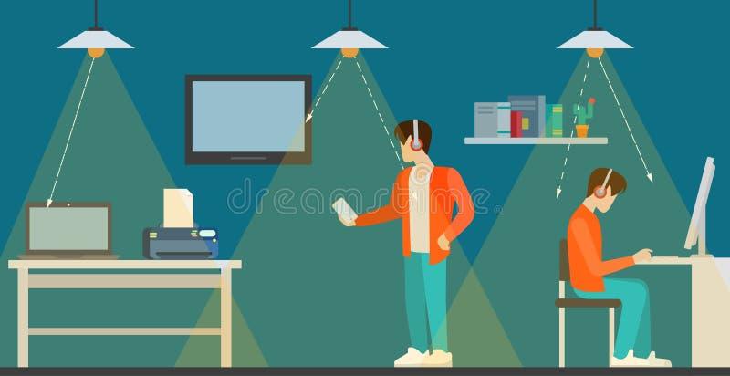 Vettore isometrico piano interno 3d di comunicazione di tecnologia Li-Fi royalty illustrazione gratis