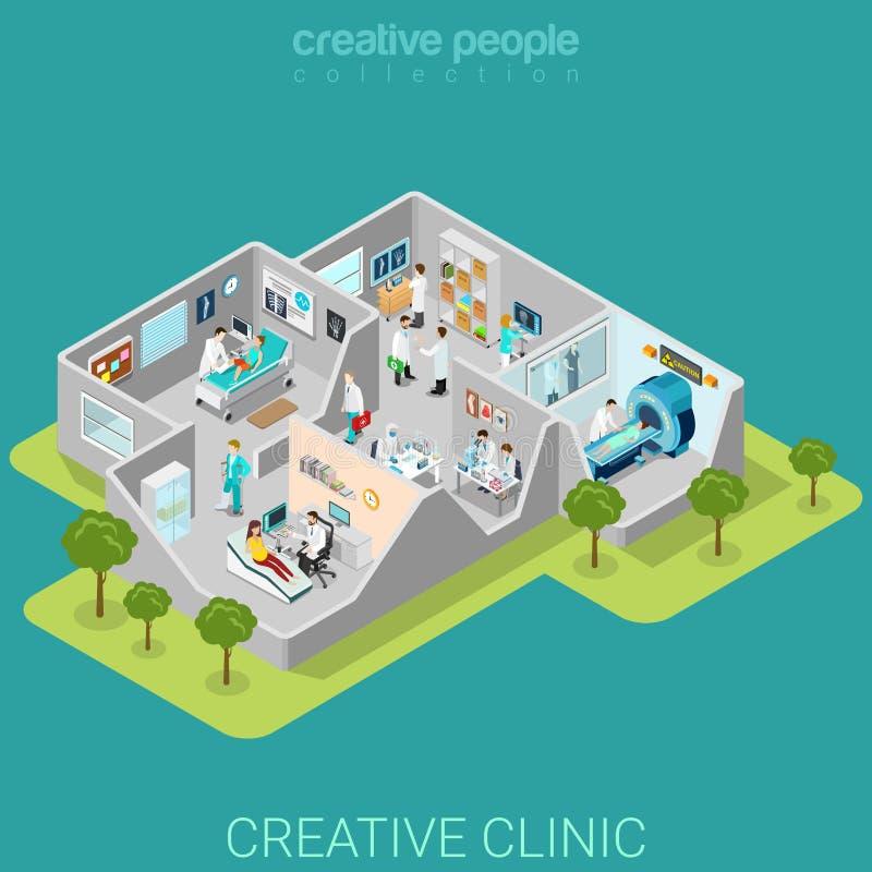 Vettore isometrico piano medico 3d delle stanze interne della clinica dell'ospedale illustrazione di stock