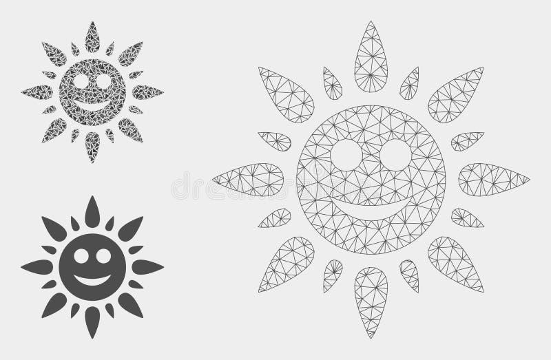 Vettore leggero Mesh Network Model di Sun felice ed icona del mosaico del triangolo royalty illustrazione gratis
