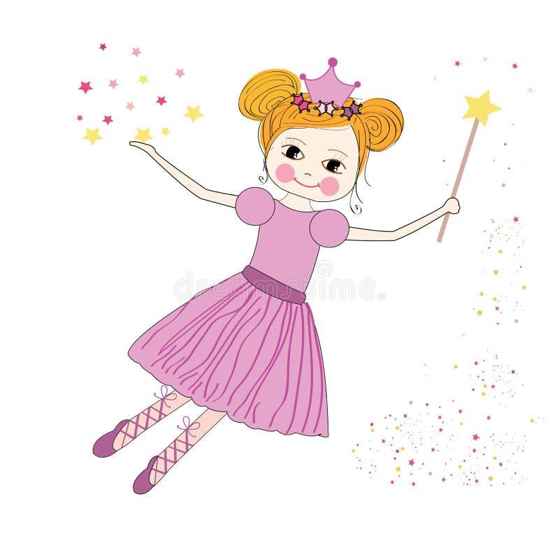 Vettore leggiadramente di principessa sveglia con il fondo delle stelle royalty illustrazione gratis