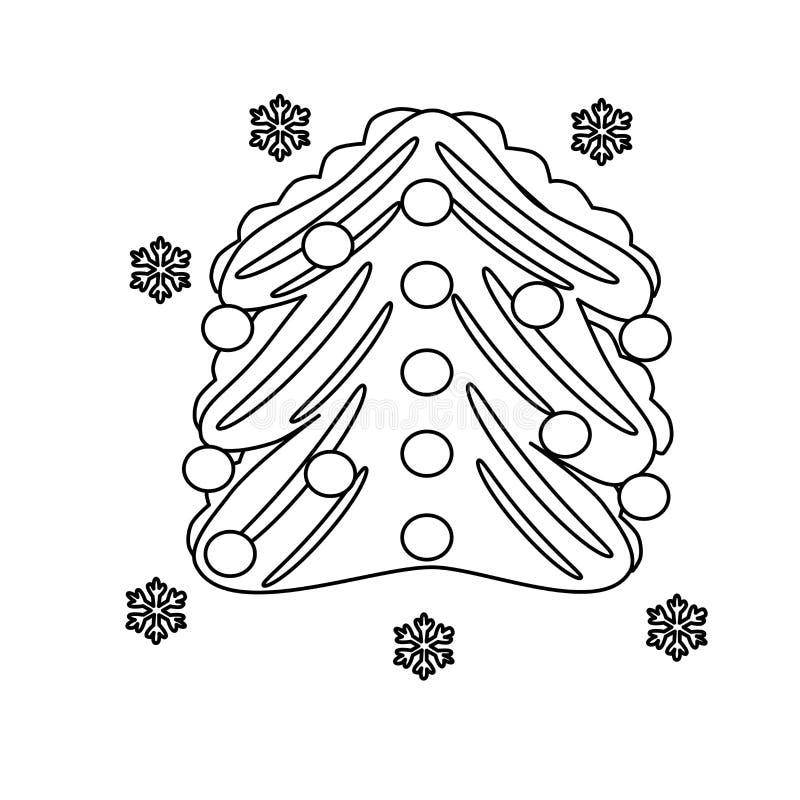 Vettore Libro da colorare per i bambini Abete di inverno con le palle di Natale per il bambino Illustrazione bianca royalty illustrazione gratis