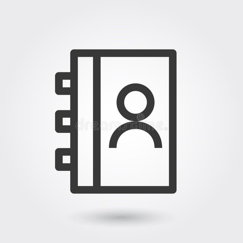 Vettore, libro di indirizzo, linea icona con ombra illustrazione di stock