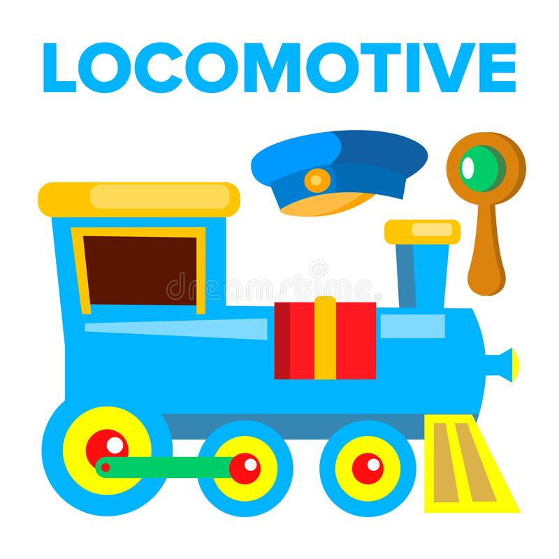Vettore locomotivo Giocattolo dei bambini Ferrovia della strada del treno Illustrazione isolata del fumetto illustrazione vettoriale