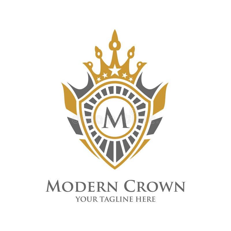 Vettore Logo Design dell'araldica con il logo decorativo della struttura della corona di lusso royalty illustrazione gratis