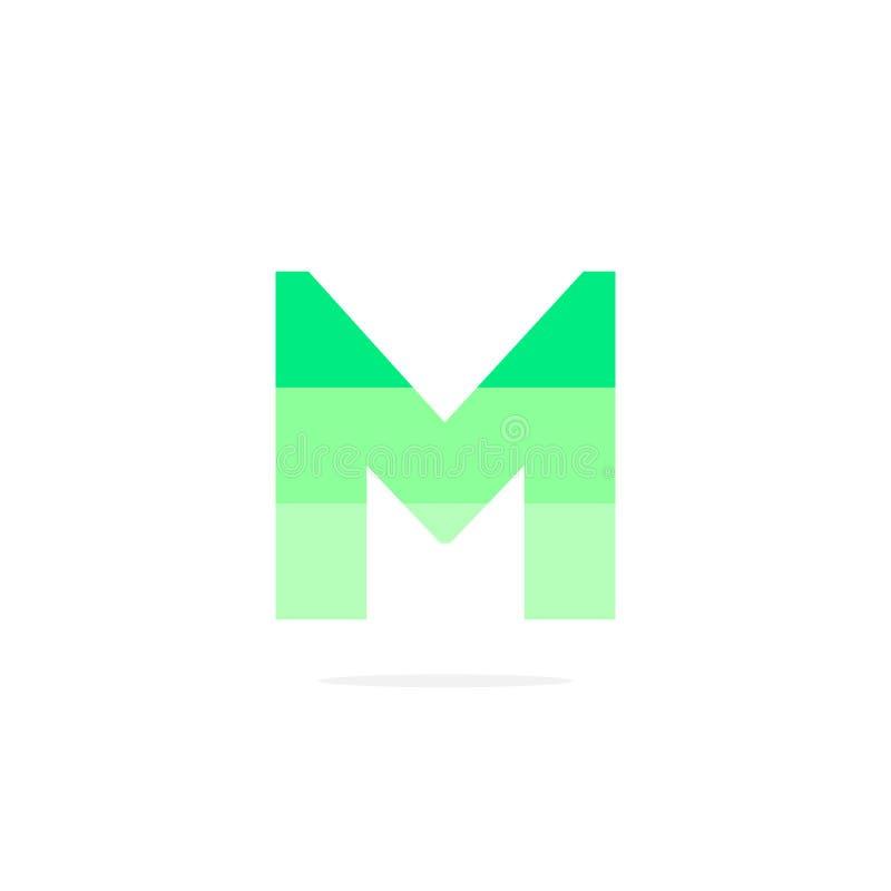 Vettore Logo Letter m. Green Energy Battery illustrazione di stock