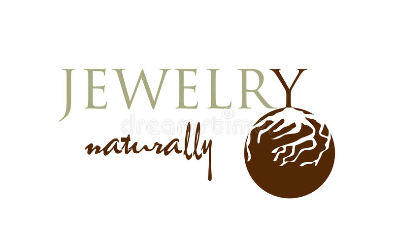 Vettore - logo moderno dei gioielli naturali, isolato su fondo bianco Illustrazione di vettore illustrazione di stock
