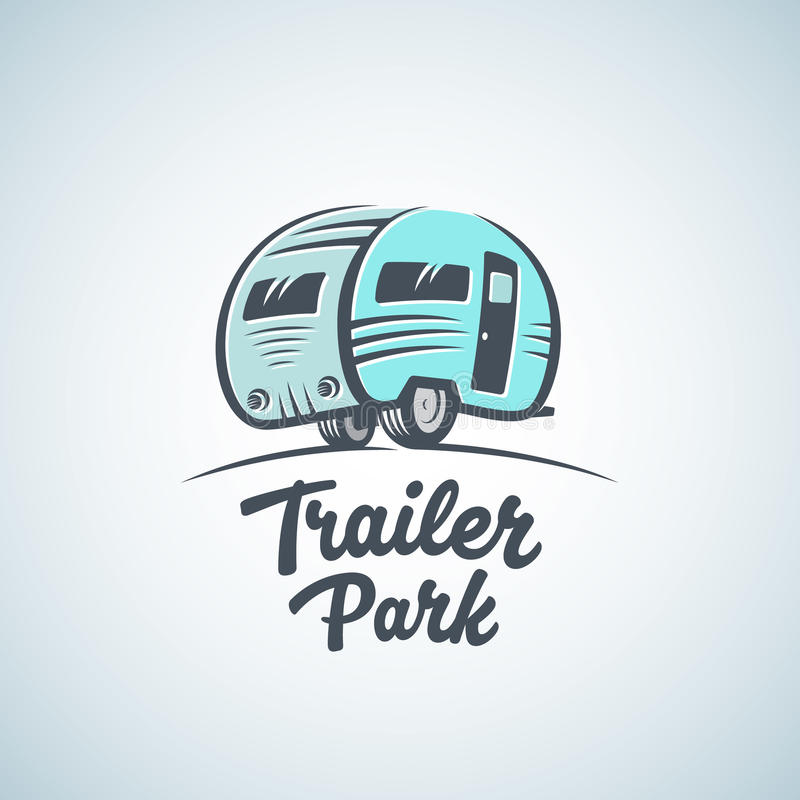 Vettore Logo Template di rv, di Van o del campo caravan Icona di turismo della siluetta Etichetta con retro tipografia royalty illustrazione gratis